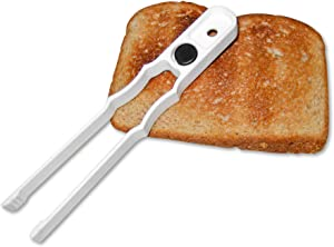 Gadjit Toaster Tong/Food Tong - Designed to Lift Hot Toast and Bagels out of the Toaster Safely, No More Burning your Fingers! Sticks to Refrigerator or Toaster with Magnet in Handle (White)