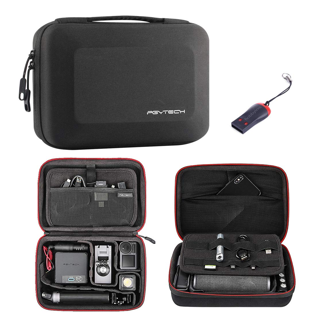 PGYTECH Portable Bag Travel Bag Storage Box Carrying Case for DJI OSMO Action Camera/OSMO Pocket/DJI OSMO Mobile 3,with USB Reader by PGYTECH