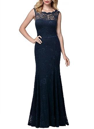 Miusol Damen Kleid Elegant Spitzen Sommer Rueckenfrei Aemerlos Langes  Fishtail Brautjungfer Cocktailkleid  Amazon.de  Bekleidung 8b183c0dd4