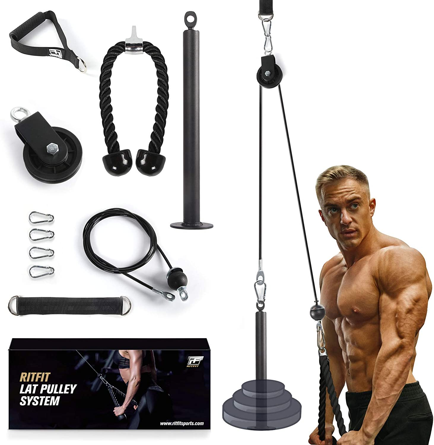 RitFit LAT and Lift Pulley System with Silent Pulley, Loading Pin, Tricep Rope & Handle, DIY Home Gym Equipment for Pull Down, Biceps Curl, Forearm, Shoulder-Strength Workout