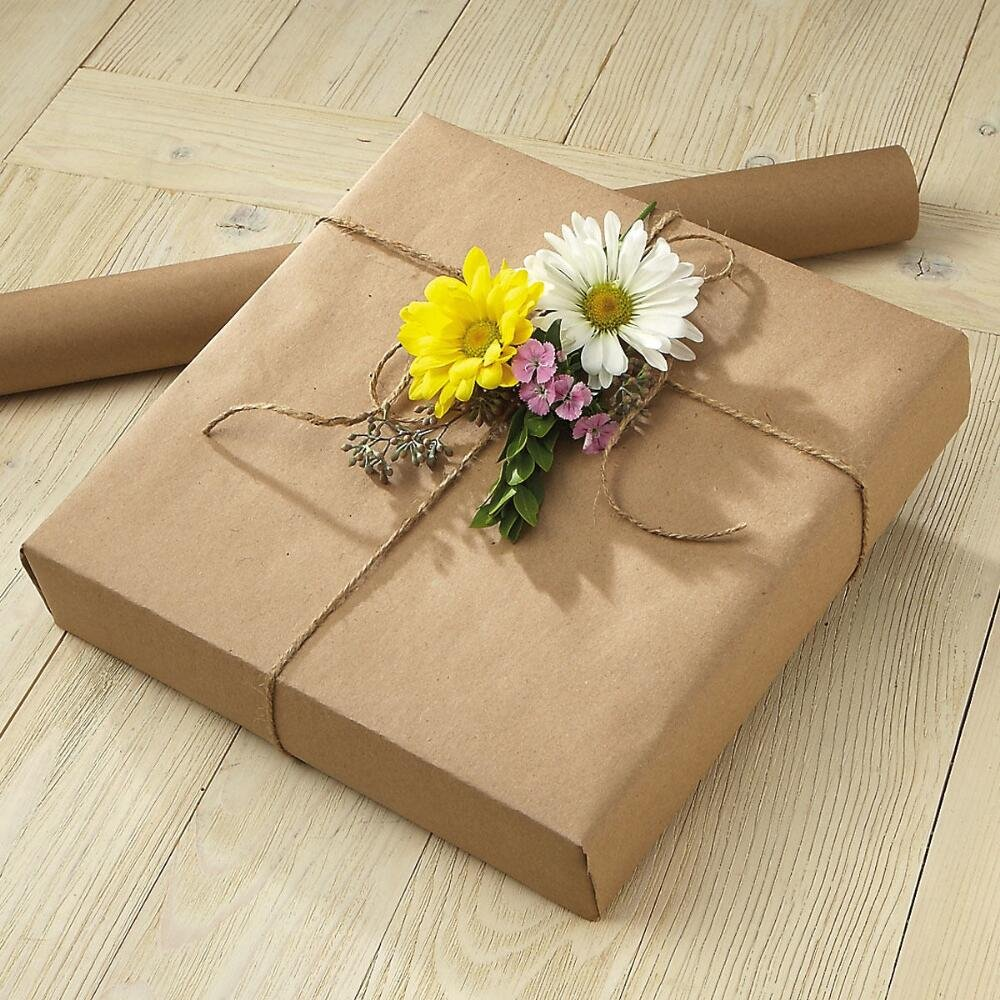 Plain Kraft Jumbo Roll Gift Wrap - 68 sq. ft, heavyweight, Natural color, tear-resistant wrapping paper, 23'' wide and 35' long, Table Cover, Art Projects, Wrapping Paper, Craft Projects