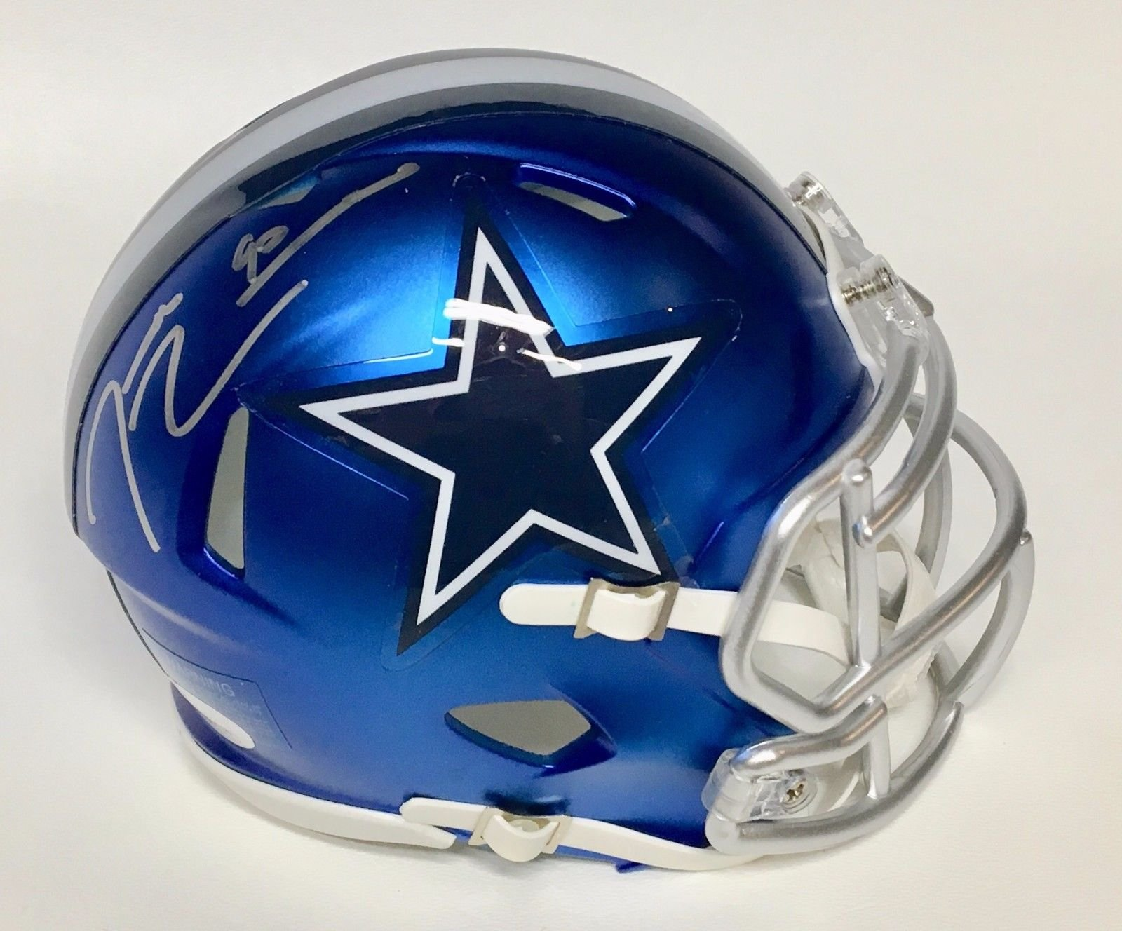 Demarcus Lawrence Dallas Cowboys Signed Autograph BLAZE Speed Mini Helmet JSA Witnessed Certified
