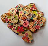 iWorldApparel BUT-0169 Heart Shaped Painted 2 Hole Wooden Buttons 20mm x 22mm, 25 Pieces