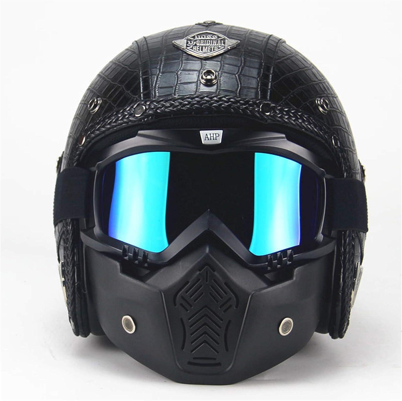 MRDEAR Textura de Cocodrilo - Casco Scooter Style Rétro Negro Hecho a Mano Casco Jet Hombre Vintage Casco Abierto Moto Adultos para Motocicleta Ciclomotor Bicicleta con Visera Gafas Máscara