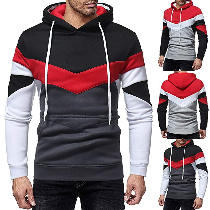 Amazon.com: Mens Outwear,Mens Autumn Casual Patchwork Long Sleeve Hoodie Sweatshirt Top Outwear for Men: Clothing
