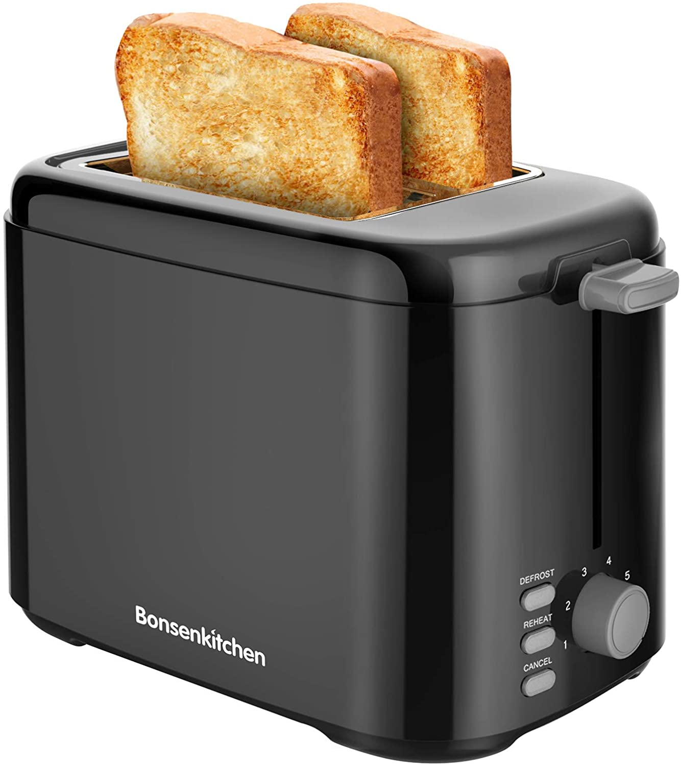 2-Slice Retro Toaster with 7 Shade Settings,Compact Toaster with Cancel, Defrost and Reheat Functions,Slide-Out Crumb Tray ,800W,Black