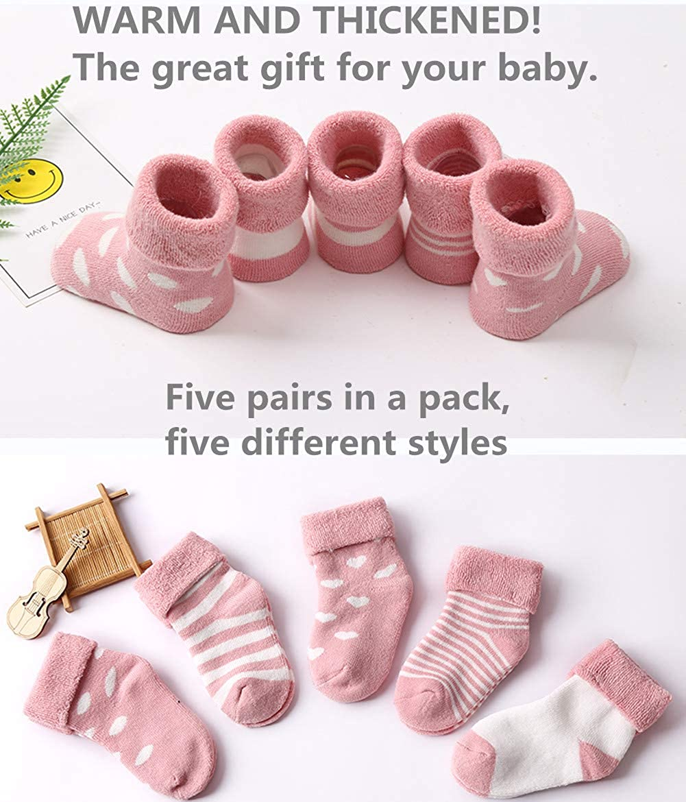 YUANGE Winter Thickened Pure Cotton Baby Terry Socks 5 Pairs Pack