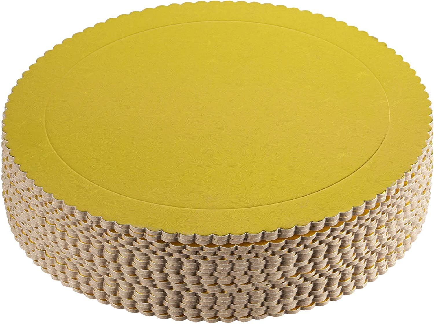 ZEONHAK 20 Pack 12 Inches Cake Boards, Round Cake Circles, Cake Base, Food Grade Gold Laminating Greaseproof Disposable Reusable Cardboard Cake Drum Pizza Tart Tray