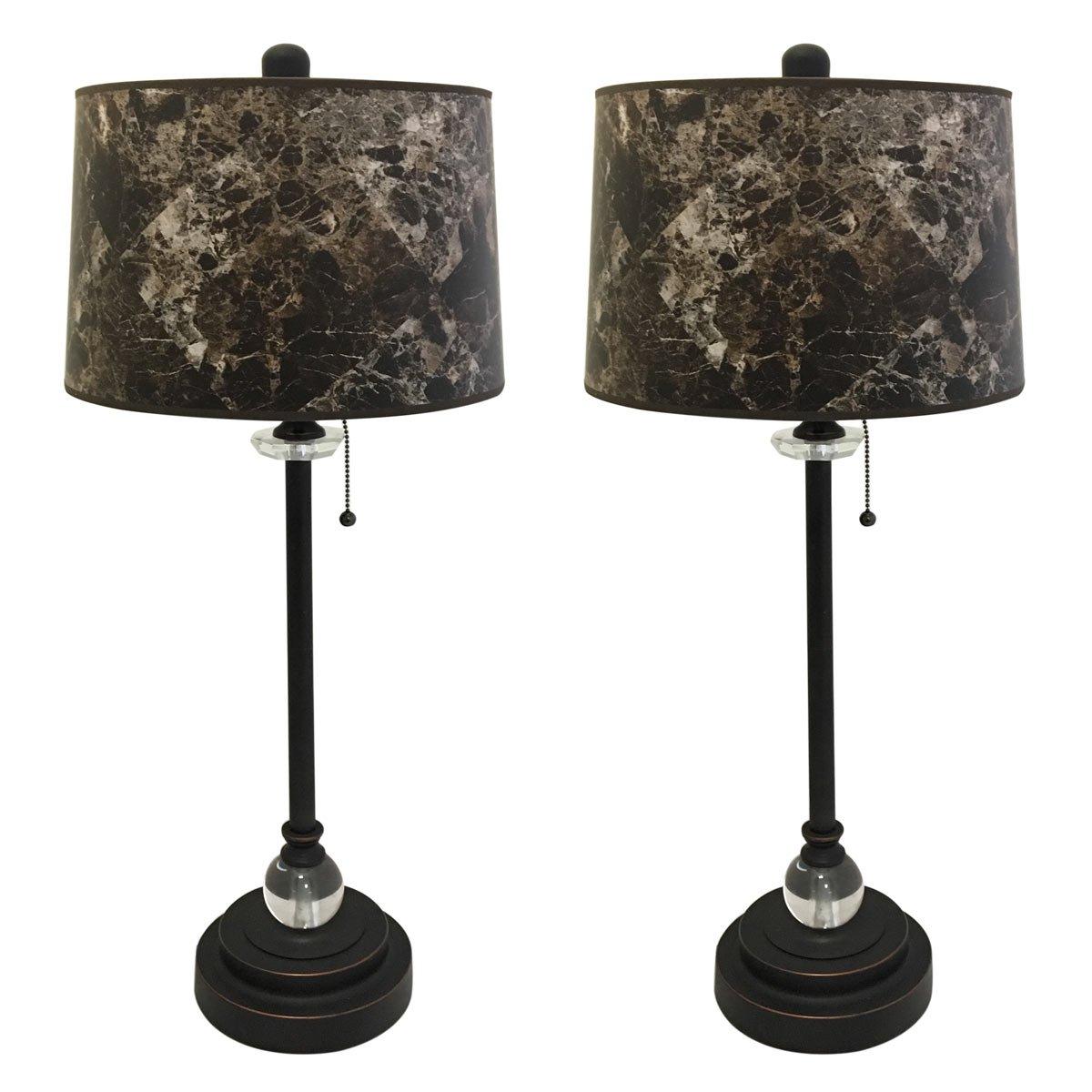 Royal Designs 28'' Crystal and Oil Rub Bronze Buffet Lamp with Dark Brown Marble Hardback Lamp Shade, Set of 2 by Royal Designs, Inc