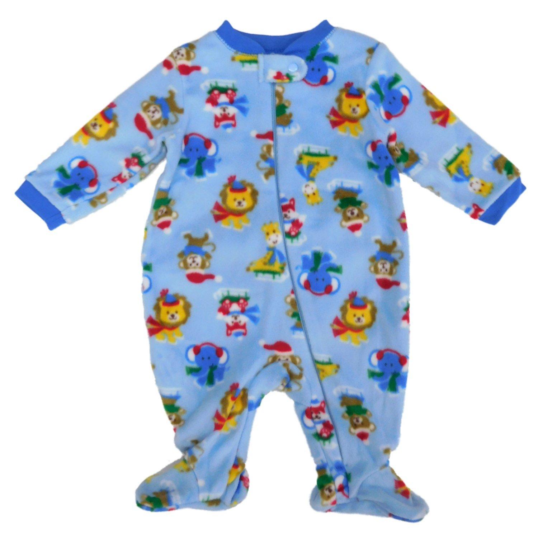 Holiday Time Infant Boys Ice Skating Animals Fleece Footed Pajama Sleeper