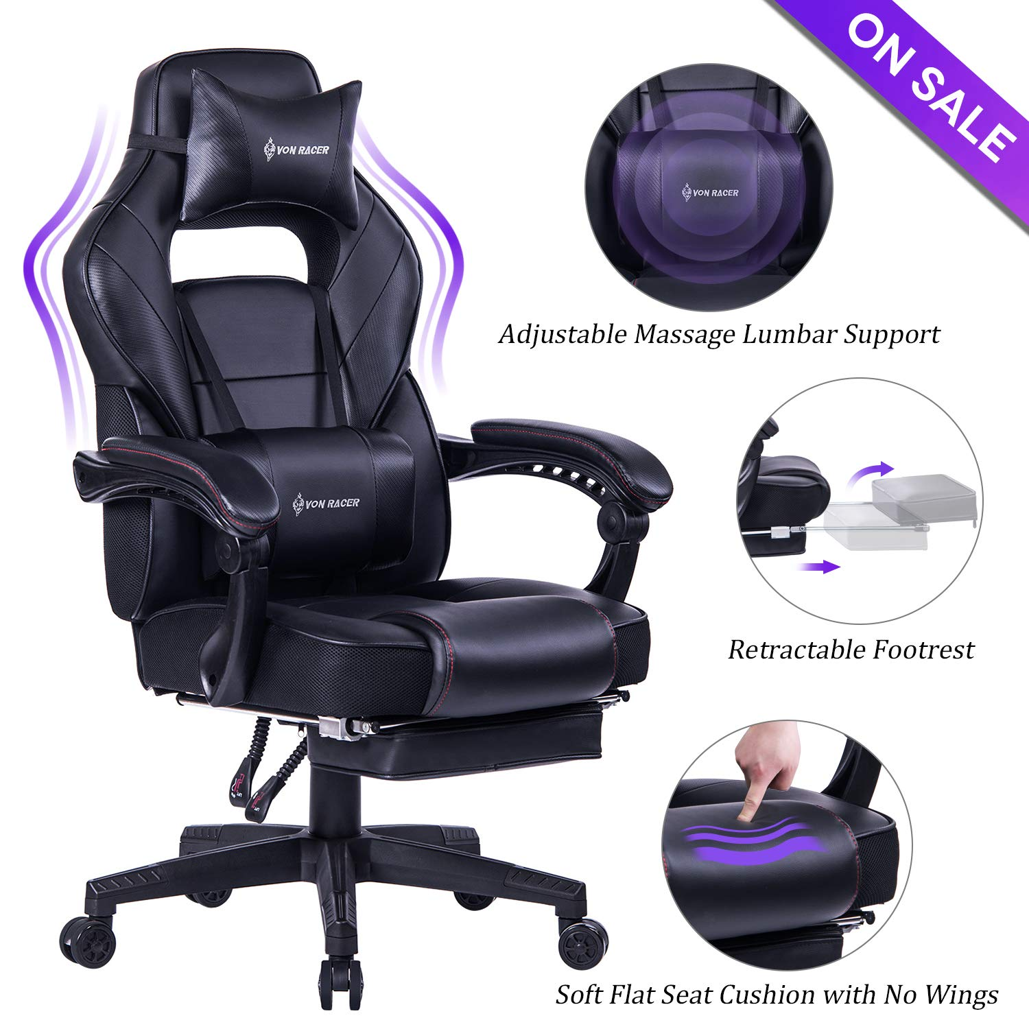 VON RACER Massage Reclining Gaming Chair - Ergonomic High-Back Racing Computer Desk Office Chair with Retractable Footrest and Adjustable Lumbar Cushion (Black) by VON RACER