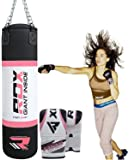 RDX Women Heavy Boxing 4FT Punch Bag Filled MMA Ladies Punching Bags Training Gloves KickBoxing