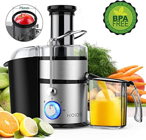 KOIOS Centrifugal Juicer Machines, Juice Extractor with Big Mouth 3 Feed Chute, 304 Stainless-steel Filter, High Juice yield, Easy to Clean 100 BPA-Free, 1200W Powerful, Dishwasher Safe, Included Brush