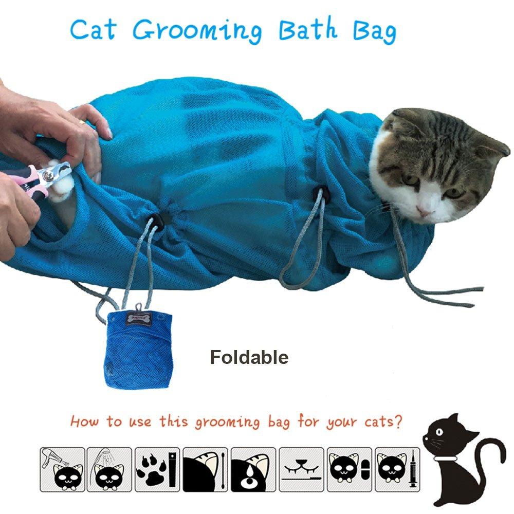 KamaLM Pet Cat Grooming Bag Cat Washing tools Restraint Bath Bag,Blue,Large