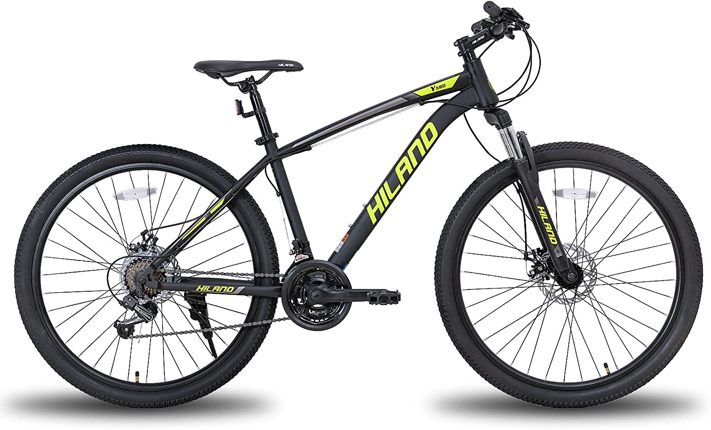 Hiland Bicicleta de montaña de 26/27,5 pulgadas, con cuadro de acero, freno de disco, horquilla de suspensión