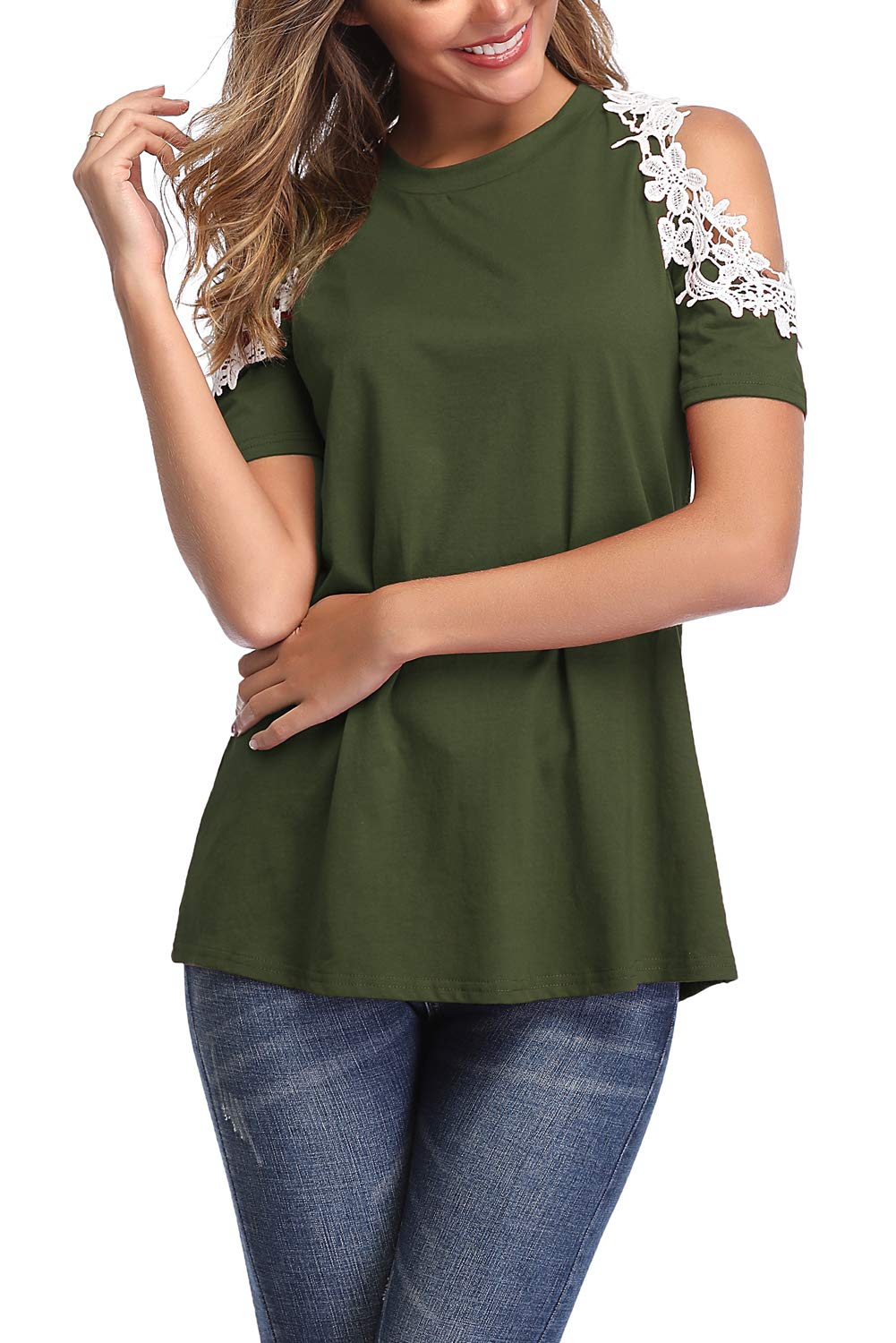 Donnalla Womens Summer Casual Tops Lace Cold Shoulder Short Sleeve Loose Blouse Shirt(Army Green XX-Large)