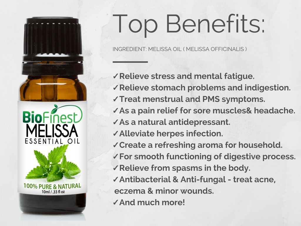 Biofinest Melissa Essential Oil - 100% Pure Undiluted, Organic Therapeutic Grade - Best for Aromatherapy, Ease Stress Headache Indigestion Muscle Sore Acne Wounds - Free E-Book & Dropper (100ml) by BioFinest (Image #5)