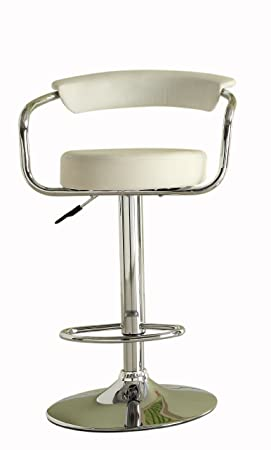 Homelegance 1149WHT Hydraulic Swivel Barstool, White Vinyl, Set of 2