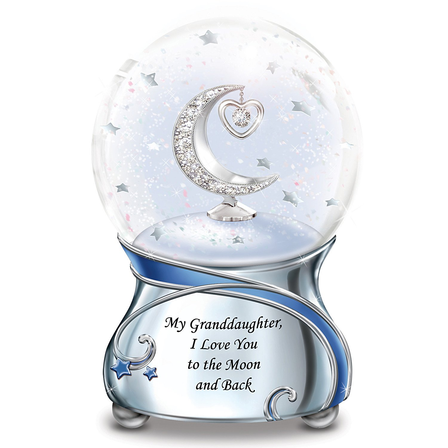 Snowglobe With Swarovski Crystal For Granddaughter Plays Always In My Heart by The Bradford Exchange