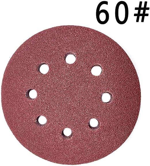 Maveek 50/pi/èces 8/trous Disques abrasifs Grain 60/12,7/cm Scratch et Assortiment de papier abrasif pour ponceuse orbitale