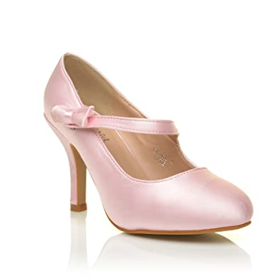 19a75869af0 Charlotte Baby Pink Satin High Heel Bridal Bow Mary Jane Shoes Size UK 5 EU  38