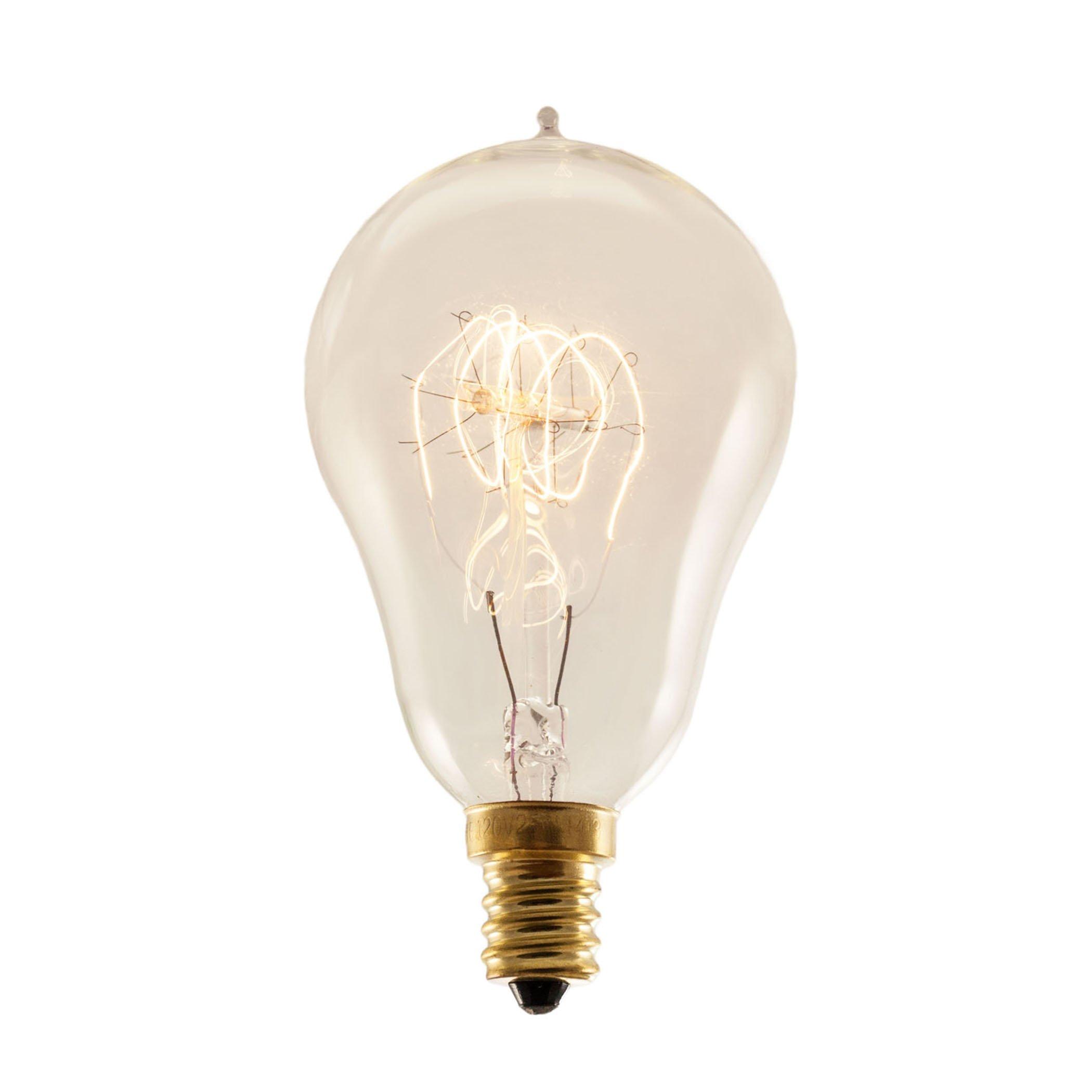 10 Qty. Bulbrite NOS25A15/LP/E12 25-Watt Nostalgic Incandescent Edison A15, Vintage Loop Filament, Candelabra Base, Antique Bulb