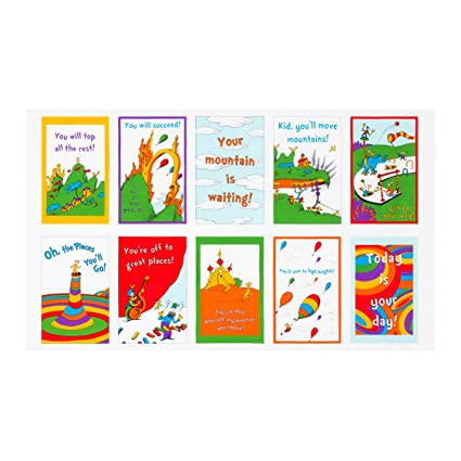 5600a1da Amazon.com: Robert Kaufman Dr. Seuss Oh The Places You'll Go 2 24'' Panel  Bright Fabric Fabric by the Yard