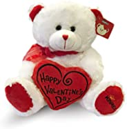 KINREX Happy Valentine's Day Stuffed Teddy Bear- Teddy Bear to Gift for Valentine's Day for Couples- White Valentines Teddy B
