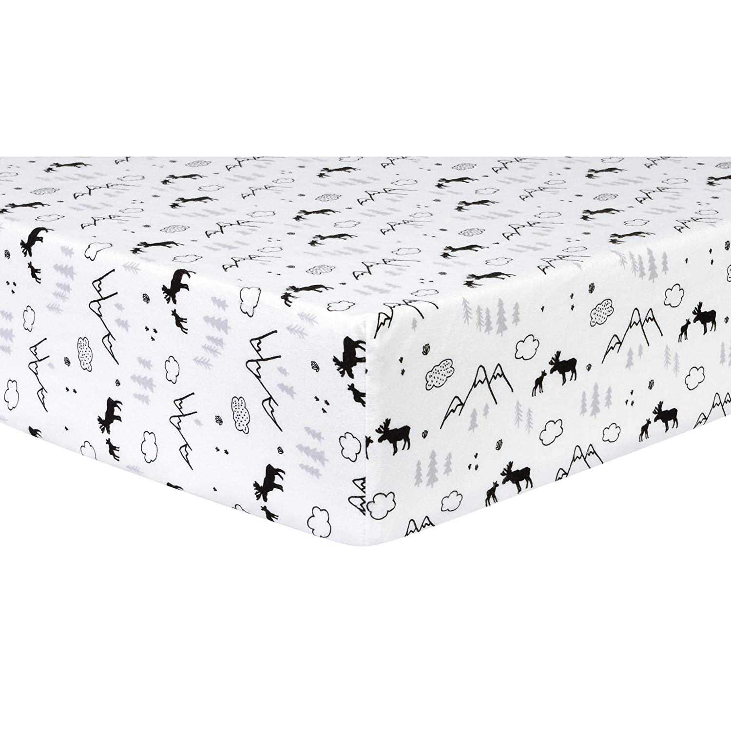 Amazon Com Trend Lab Deluxe Flannel Fitted Crib Sheet Lumberjack Moose Baby