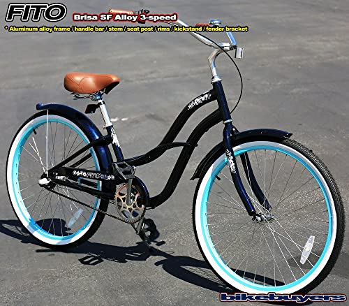 Fito Women's Brisa SF Aluminum Alloy 3-Speed Cruiser Bike Color Midnight Blue Turquoise