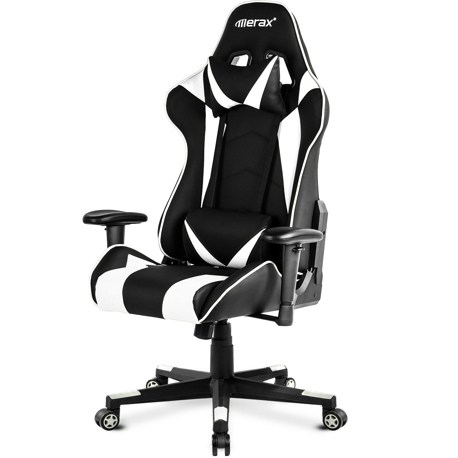Merax. High Back Gaming Chair Enlarged Racing Home Office Computer (White)