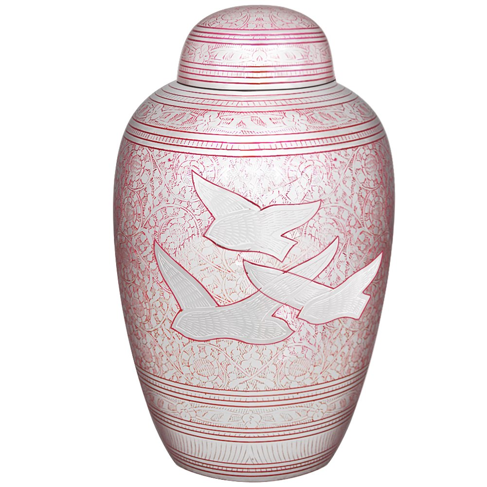 MEILINXU Funeral Urns for Ashes Adult by Cremation Urns for Human Ashes Adult Large - Design is Hand Engraved in Brass - Display Burial Urns At Home or in Niche at Columbarium (Pink Flying Birds Urn