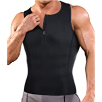 378f8442752 Ursexyly Zipper Body Shaping Sauna Vest Fitness Shapewear to Slim Workout Shirt  Compression Top for Men