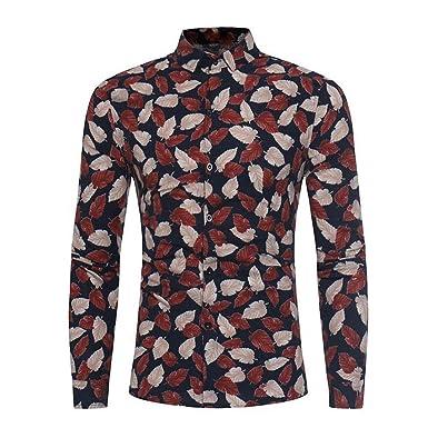 b7abd678c1f Men Fashion Leaves Floral Print Leaf Button Long Sleeve Basic t ...