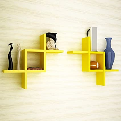 Buy Decorative Wooden Floating Wall Shelf For Home Decor Set Of 2 ...