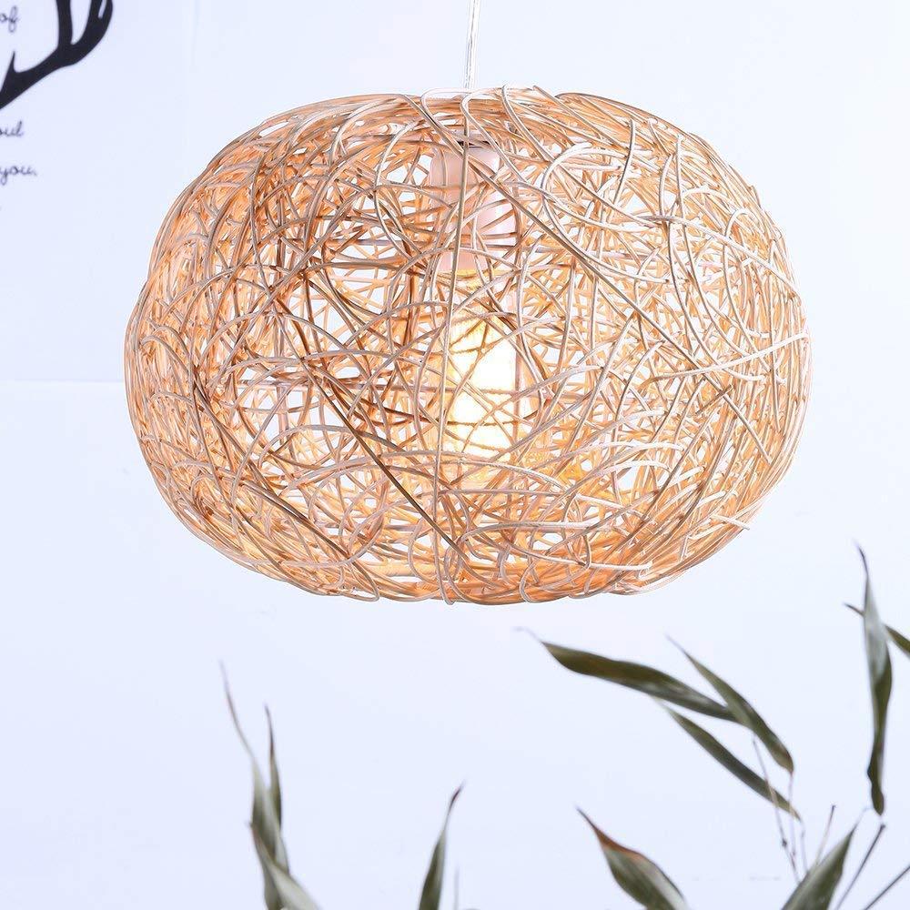 Arturesthome Rustic Rattan Pendant Light, Ball Shape Wicker Lamp Shade, Natural Color Suspension Luminaire, Rattan Light Fixture, Basket Woven