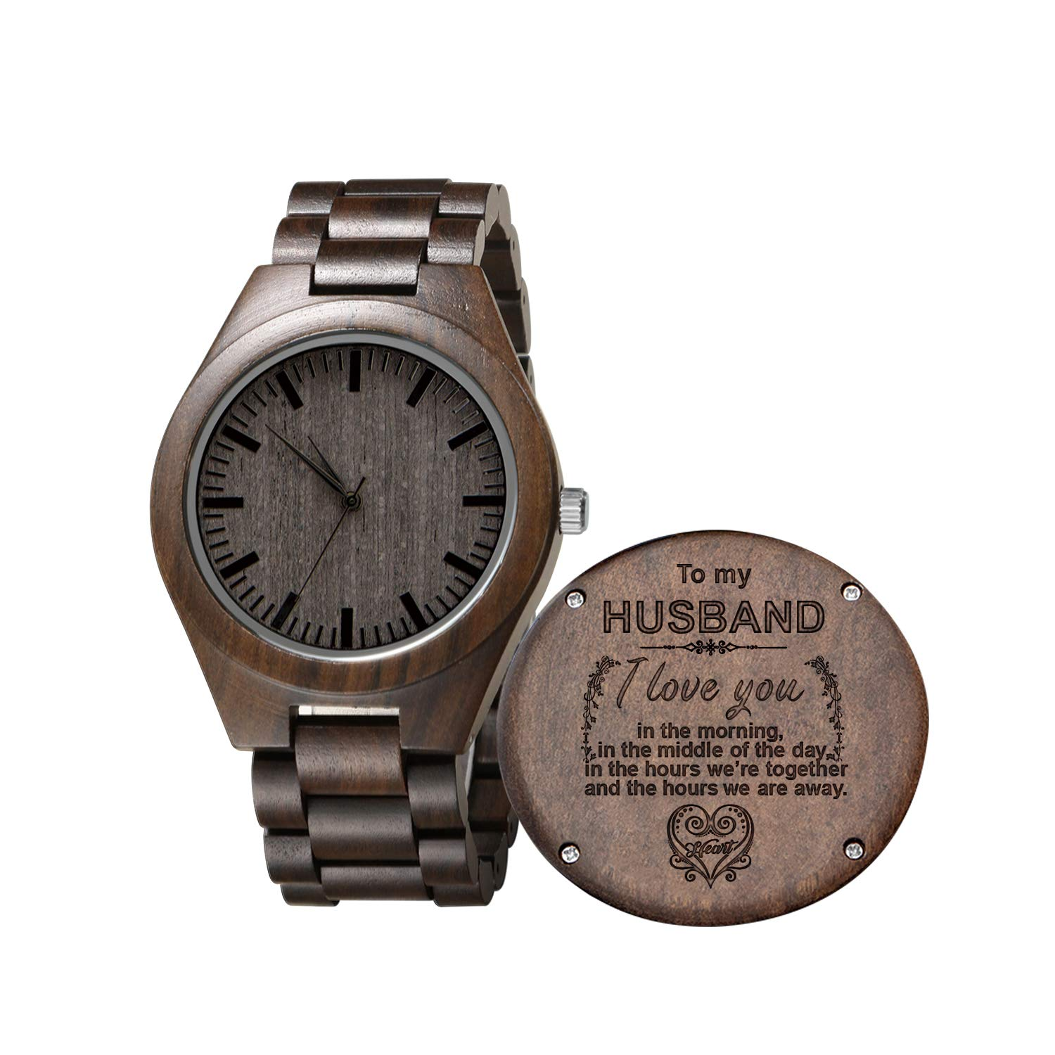 Engraved Wooden Watch for Son and Boyfriend,Personalized Wood Watch Gift for Boyfriend, Graduation Gift from Mom, from Dad (to Husband)