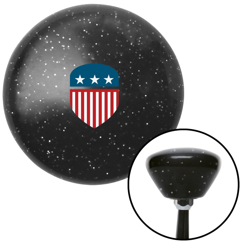 USA Flag Shield Black Retro Metal Flake with M16 x 1.5 Insert American Shifter 287964 Shift Knob
