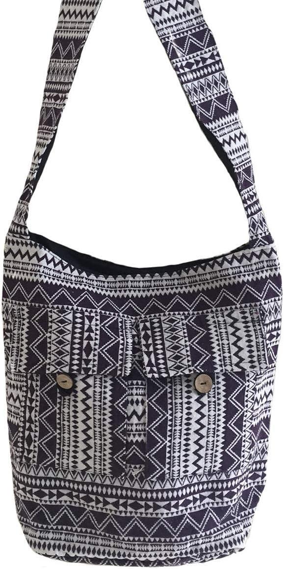 Premium Quality OMA Womens Hippie Boho Woven Cotton Cross Body Sling Shoulder Bag Casual Tote Aztec Design