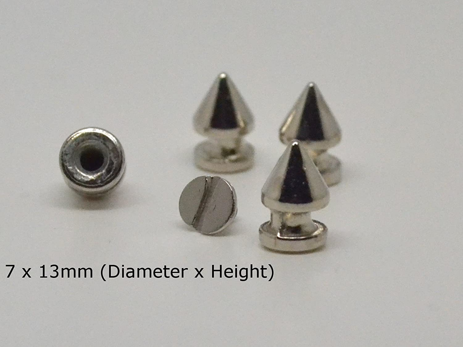50 x Silver 7 x 13mm EIMASS® Premium Alloy Screw-Back Spike Cone Rivet Bullet Studs, DIY Craft, Embellish Shoes, Bags, Costumes, Converses, Customise Personal Items