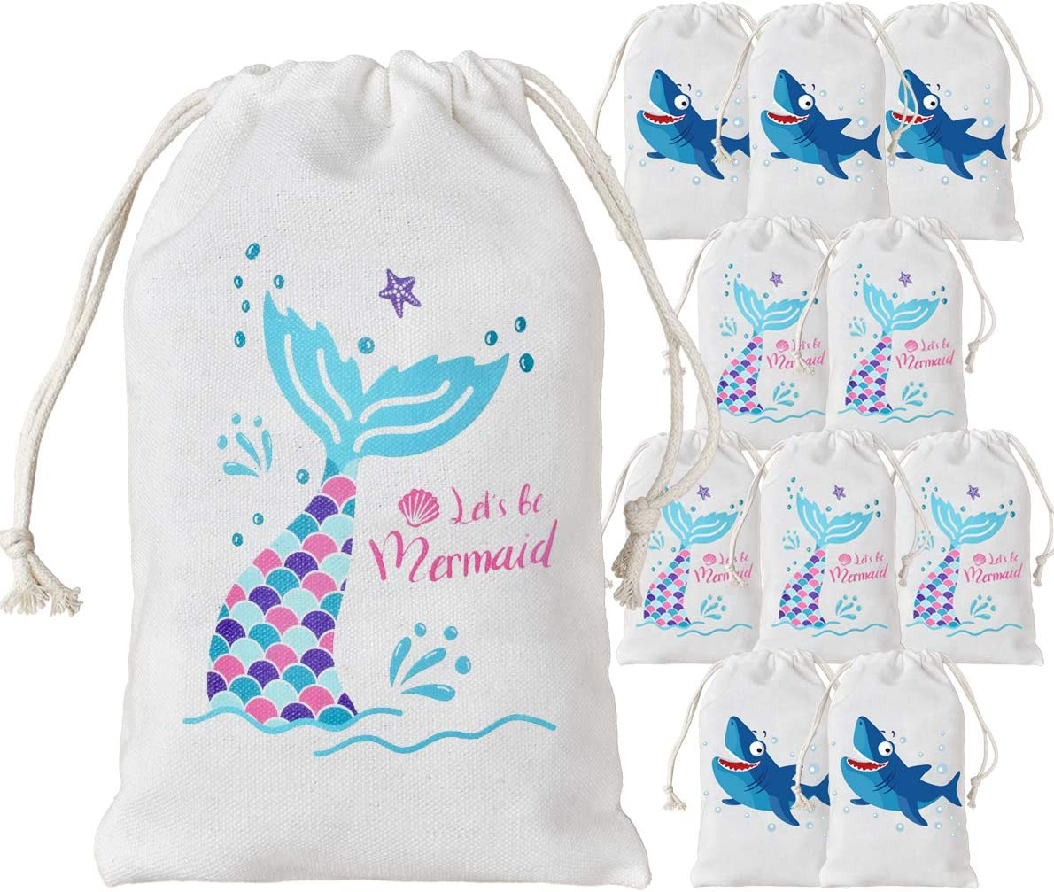 KREATWOW 12 Pack Shark Mermaid Party Favor Bags - Party Treat Candy Goodie Bags for Birthday Party Supplies 5 x 8 Inches