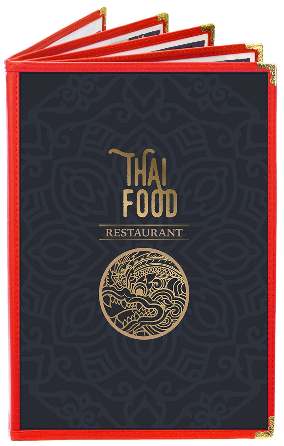 MenuCoverMan • Case of 25 Menu Covers • BETTER QUALITY #3315 RED FIVE PANEL BOOKLET - 10-VIEW - 8.5'' WIDE x 14'' TALL - DOUBLE-STITCHED Leatherette Vinyl Sewn Edge. Gold metal corners. by MenuCoverMan