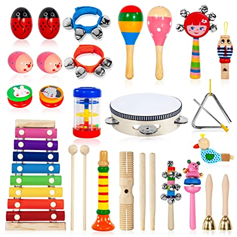 Wood Tambourines Drum Bell Toy Kids Musical Percussion Instrument Toy Forest Clients First Musical Instruments