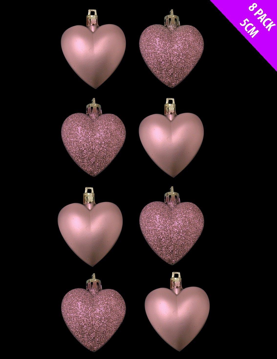 8 x 5 cm rosa/pá lido rosa + Matt bolas para á rbol de Navidad con forma de corazó n CHRISTMASSHOP No Model