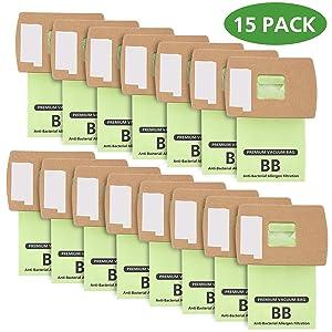 Isingo 15 Pack Oreck XL Buster B Vacuum Bags PKBB12DW Work for All Oreck Handheld Vacuum Series, Green