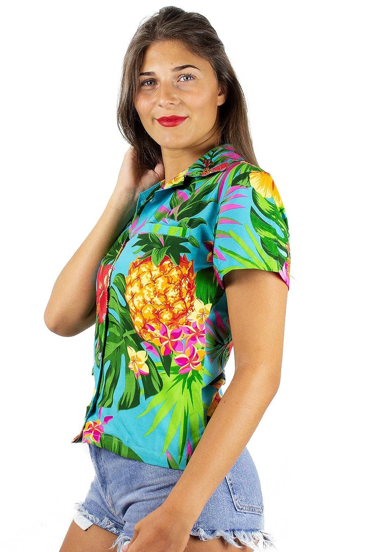 King Kameha Funky Hawaiian Shirt Blouse Women Shortsleeve Frontpocket Hawaiian-Print Leaves Flowers Pineapple