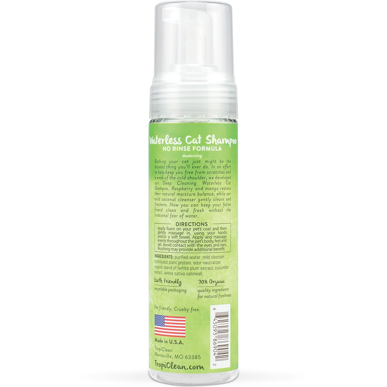 TROPICLEAN 0645095869042 - Sin Agua Cat champu Deep Cleaning: Amazon.es: Productos para mascotas