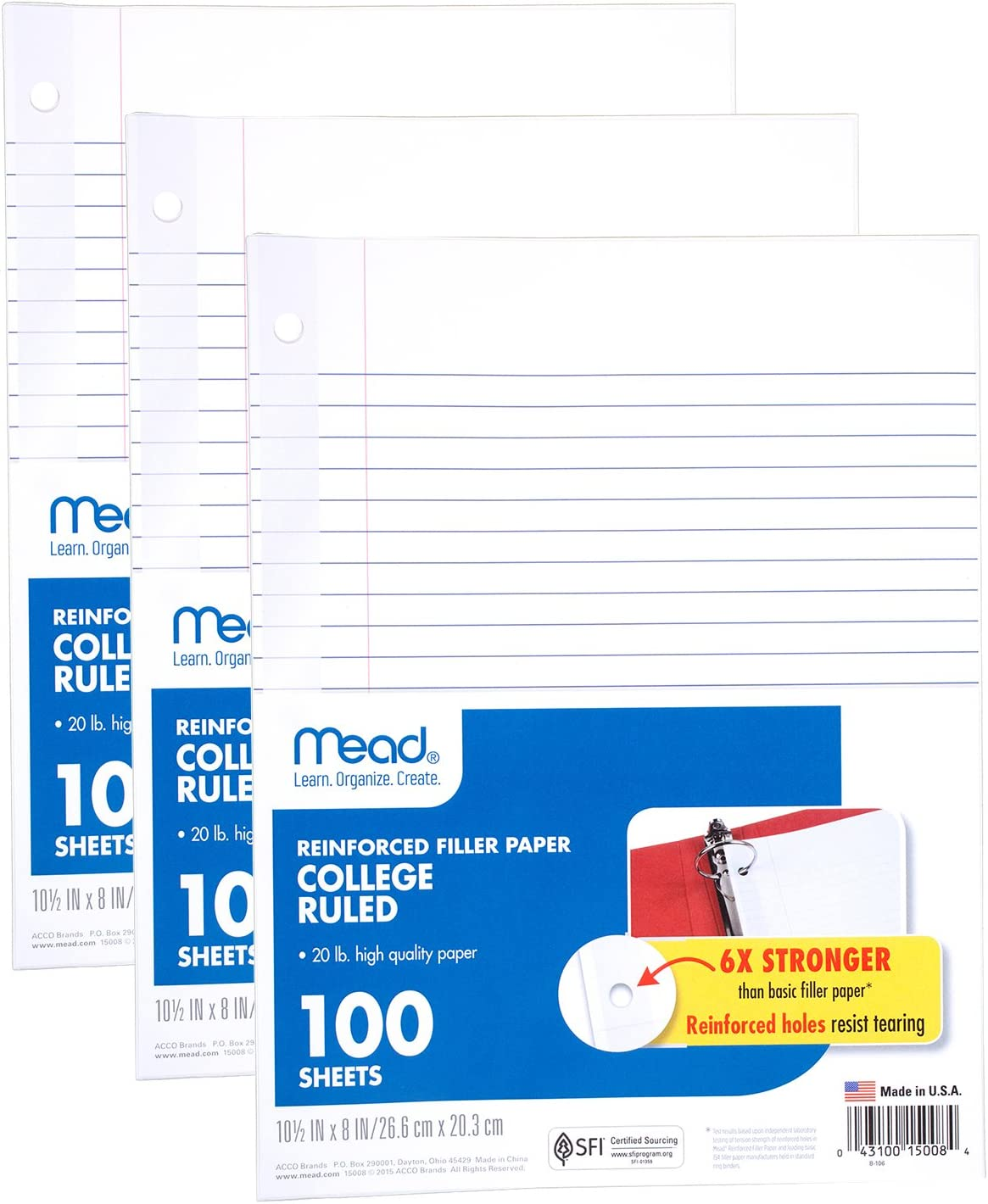 Wide Ruled 3 Hole Punched Loose Leaf Paper 38033 10-1//2 x 8 inches 100 Sheets//Pack 1 Pack of 3 Reinforced Filler Paper