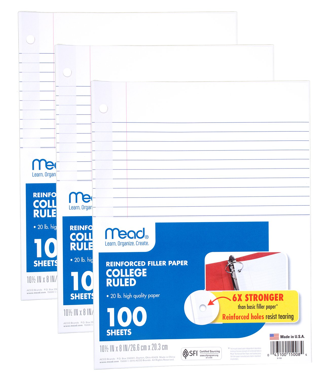 Mead Loose Leaf Paper, Filler Paper, Reinforced, College Ruled, 100 Sheets, 10-1/2'' x 8'', 3 Hole Punched, 3 Pack (38037)