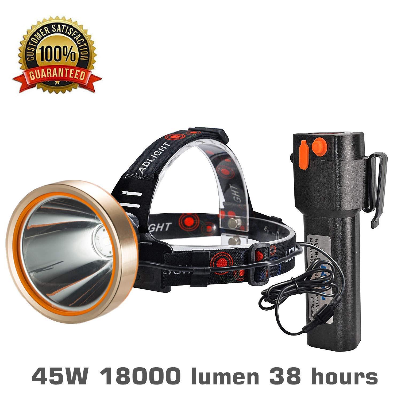 LED Headlamp,Spotlight Headlamp,Super Bright 6000 Lumen Headlight with,Improved Led Headlamps,Rechargeable 18650 Flashlights,18000mAh,Waterproof Light,Camping,Hiking,Mining Light,Hunting (BLACK)